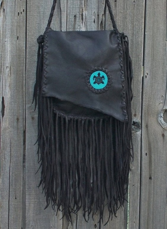 Fringed beaded turtle bag
