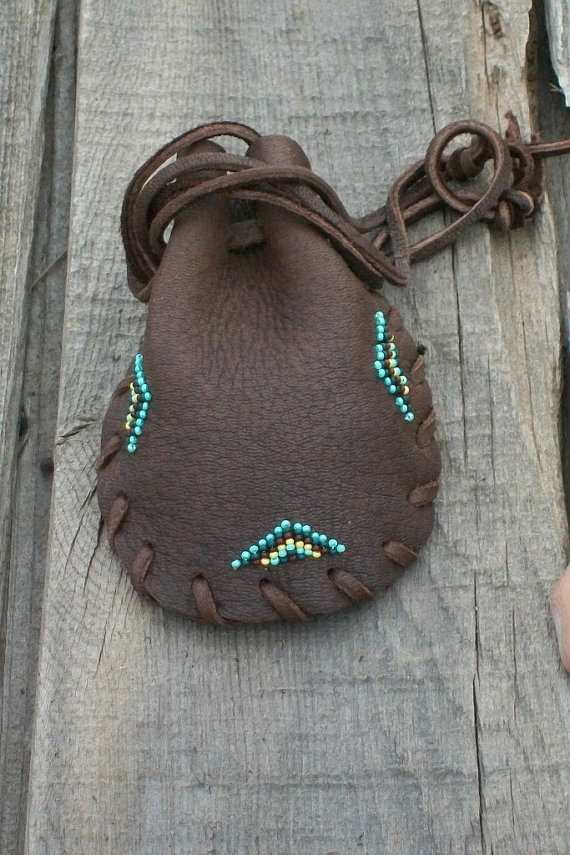 Brown Beaded Leather Bag