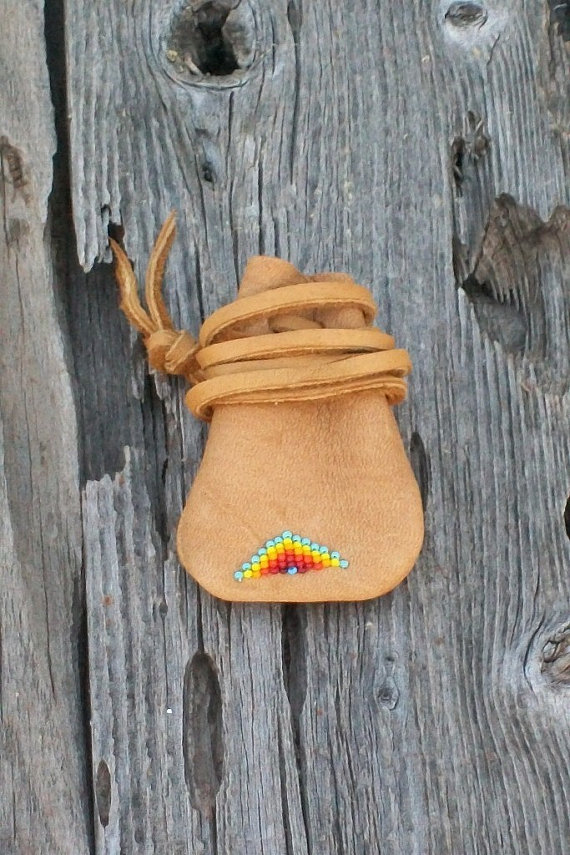 Beaded Leather Necklace Bag