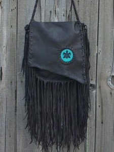 Fringed Leather turtle bag