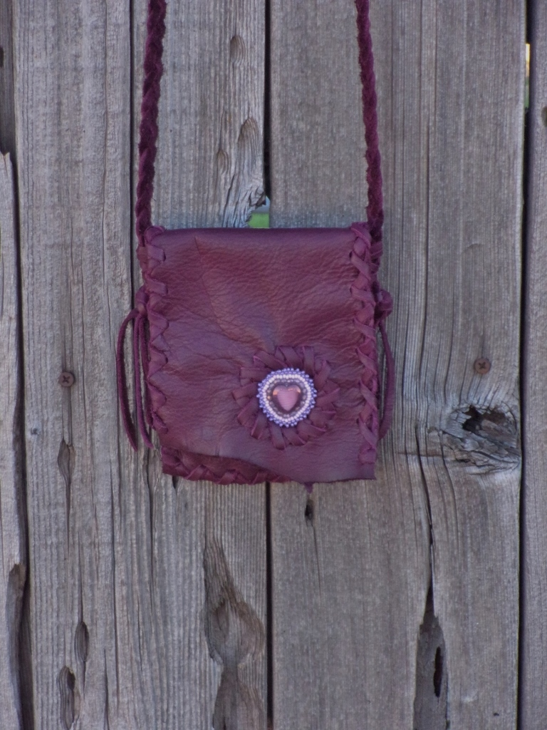 beaded burgundy leather bag