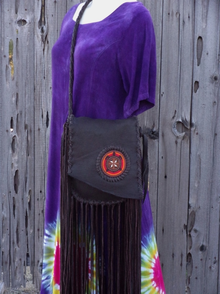 beaded turtle fringed leather handbag