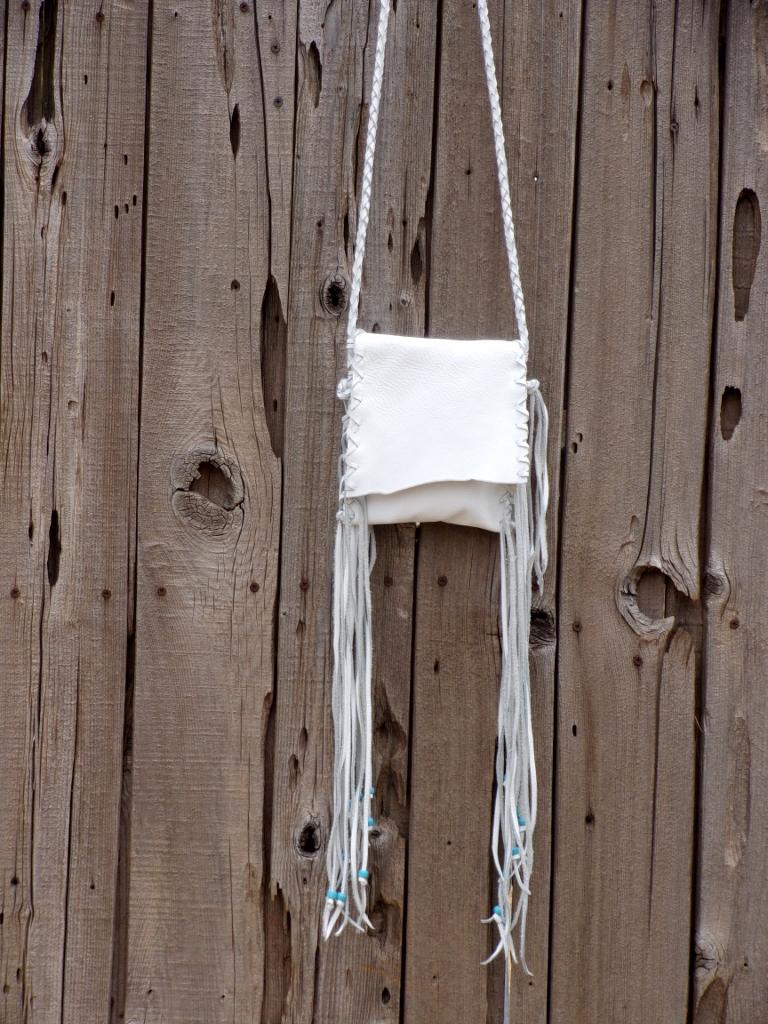 white leather wedding bag