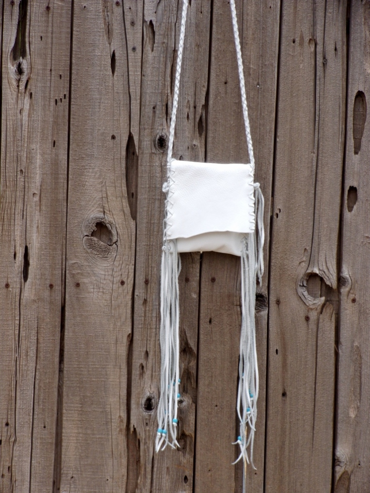 white leather wedding bag