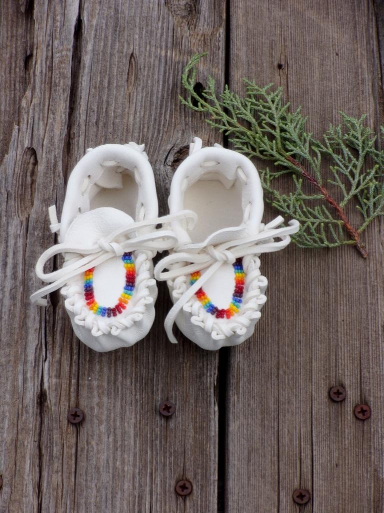fringed newborn baby moccasins