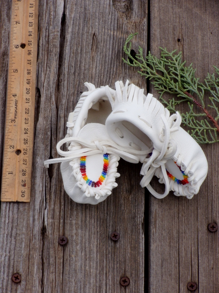Beaded newborn baby moccasins