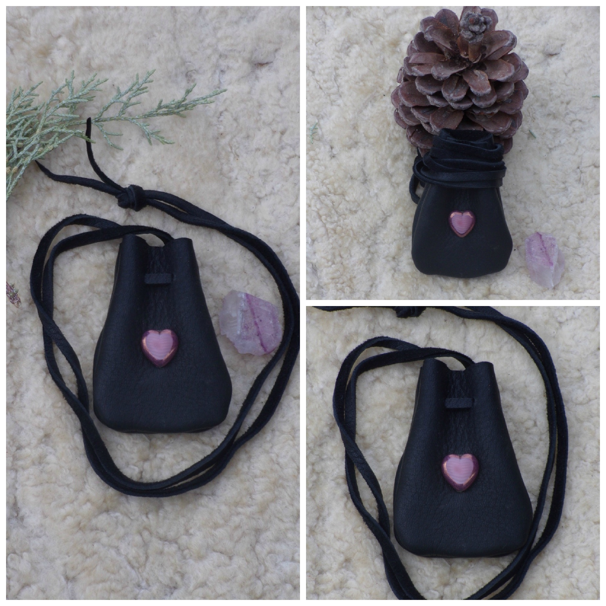 black medicine bag with glass heart
