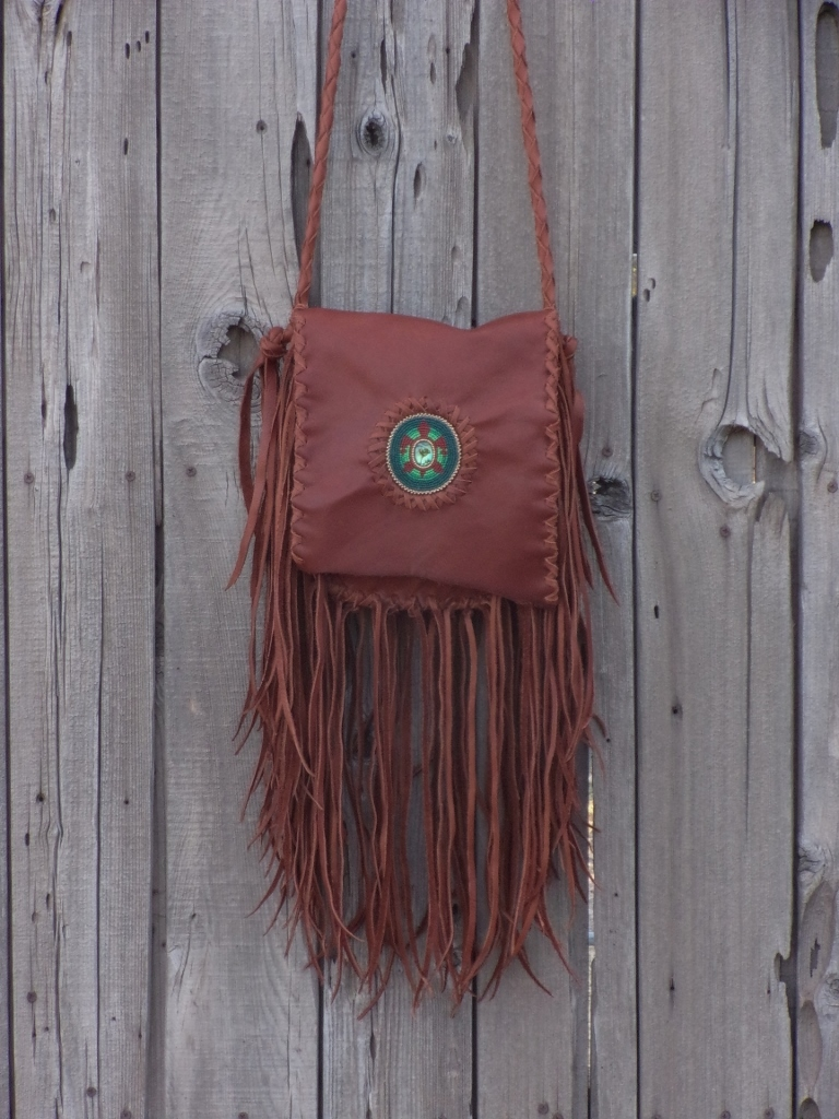 fringed leather boho handbag