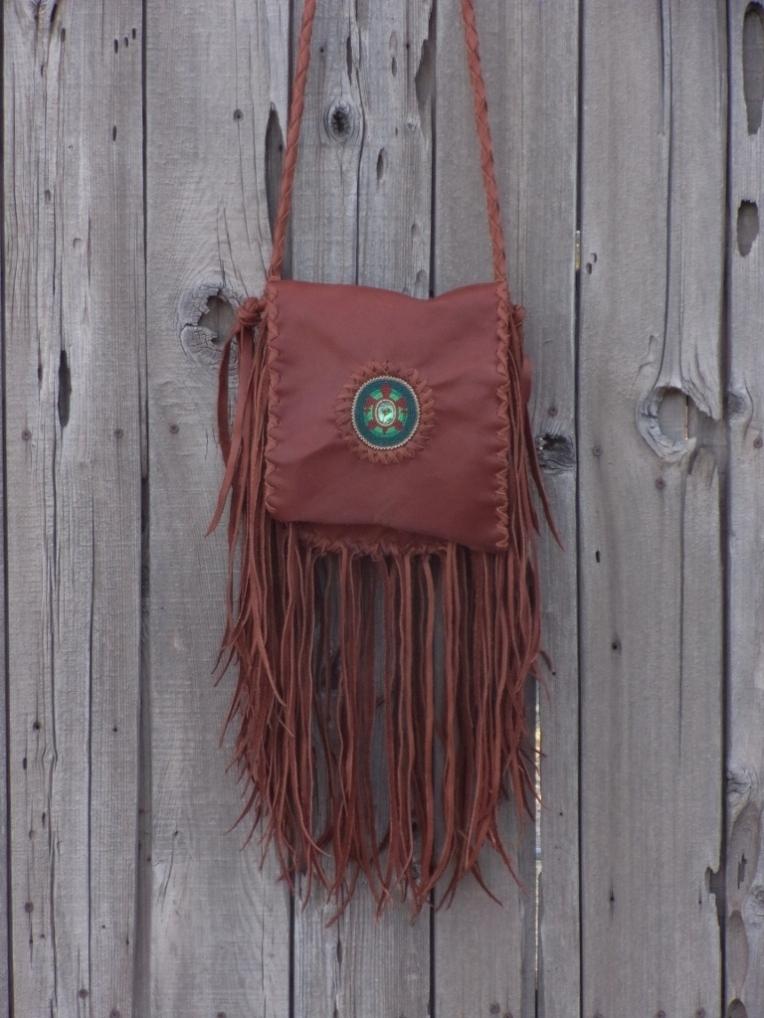 fringed leather boho handbag