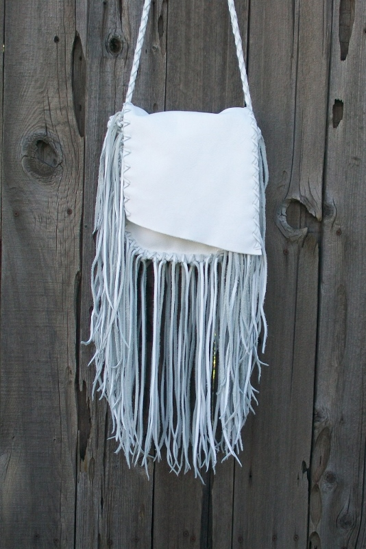 fringed white bag