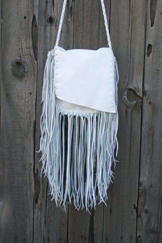 fringed white bag