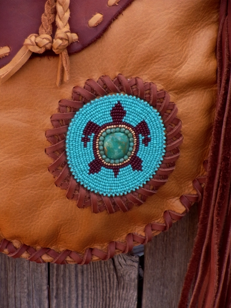 leather tote with beaded turtle totem