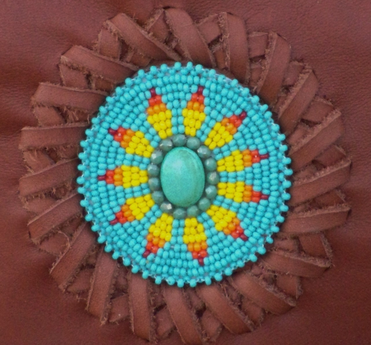 Beaded leather sunflower bag