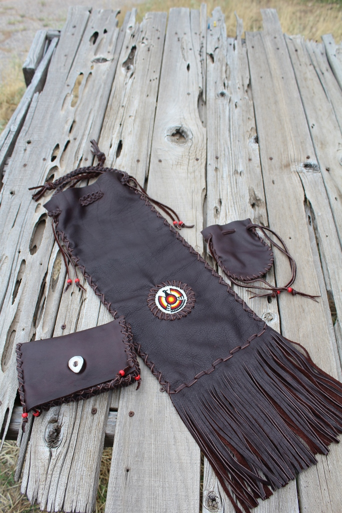 Buffalo leather pipe bag set
